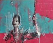 'Nous sommes tous des enragés' compressed charcoal,conte, pastel and paint on paper, 30 x 37 cm