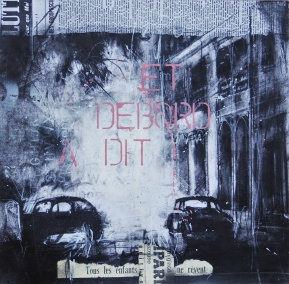 'Parisien history drawing (et Debord a dit)' compressed charcoal,conte, pastel, paint and collage on paper, 30 x 30 cm