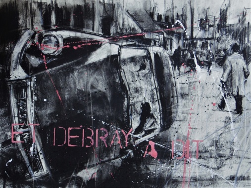 'Parisien history drawing (et Debray a dit)' compressed charcoal,conte, pastel, paint and collage on paper, 29 x 39 cm