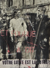 'Parisien history drawing (et Fouque a dit)' compressed charcoal,conte, pastel, paint and collage on paper, 29 x 39 cm