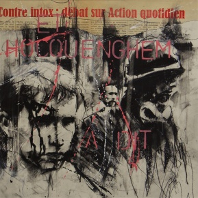 'Parisien history drawing (et Hocquenghem a dit)' compressed charcoal,conte, pastel, paint and collage on paper, 30 x 30 cm
