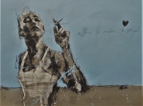 'Sous les paves, les plage' compressed charcoal,conte, pastel and paint on paper, 50 x 65 cm