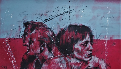 'Soyons realistes, demandons l'impossible' compressed charcoal,conte, pastel and paint on paper, 37 x 65 cm