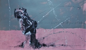 'Vivre sans temps mort et jouir sans entrave' compressed charcoal,conte, pastel and paint on paper, 39 x 65 cm