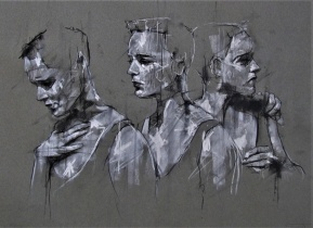 'aggression, competition, ambition', conte and chalk on paper, 50 x 66 cm