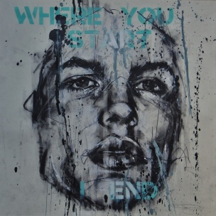 'I heard a rumour', mixed media on paper, 42 x 42 cm, 2019