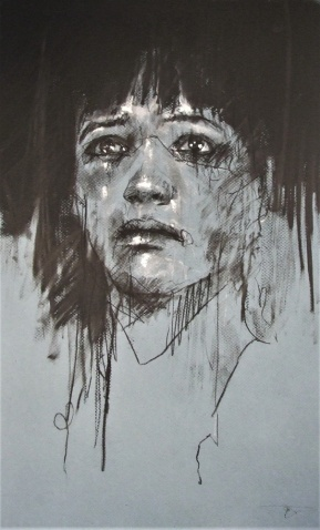 'no exemptions' conte and chalk on paper, 30 x 50 cm