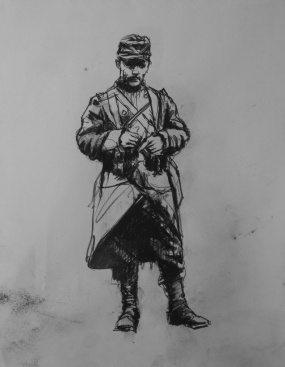3716 armistice centenary drawing 65, compressed charcoal on paper, 27 x 33 cm 2018