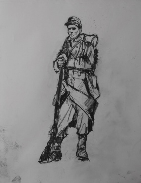 3720 armistice centenary drawing 60, compressed charcoal on paper, 27 x 33 cm 2018