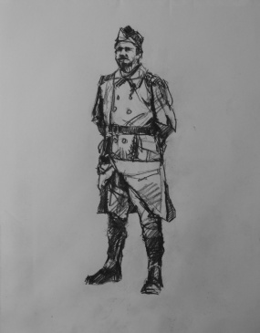 3721 armistice centenary drawing 71, compressed charcoal on paper, 27 x 33 cm 2018