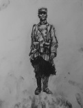 3724 armistice centenary drawing 63, compressed charcoal on paper, 27 x 33 cm 2018