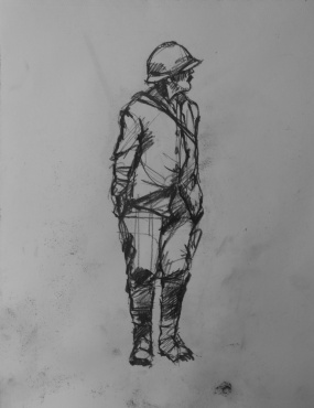 3726 armistice centenary drawing 57, compressed charcoal on paper, 27 x 33 cm 2018