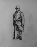 3731 armistice centenary drawing 8, compressed charcoal on paper, 27 x 33 cm 2018