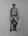 3733 armistice centenary drawing 10, compressed charcoal on paper, 27 x 33 cm 2018