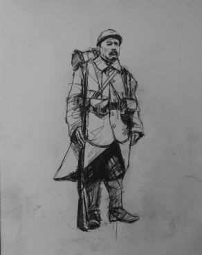 3735 armistice centenary drawing 12, compressed charcoal on paper, 27 x 33 cm 2018