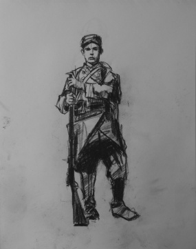 3742 armistice centenary drawing 35, compressed charcoal on paper, 27 x 33 cm 2018