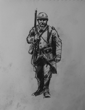 3743 armistice centenary drawing 36, compressed charcoal on paper, 27 x 33 cm 2018