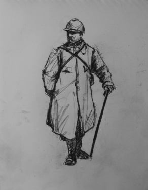 3745 armistice centenary drawing 21, compressed charcoal on paper, 27 x 33 cm 2018