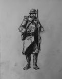 3747 armistice centenary drawing 48, compressed charcoal on paper, 27 x 33 cm 2018