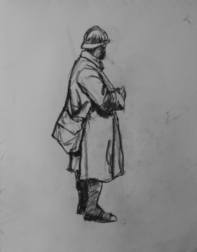 3749 armistice centenary drawing 26, compressed charcoal on paper, 27 x 33 cm 2018