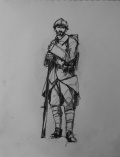 3751 armistice centenary drawing 17, compressed charcoal on paper, 27 x 33 cm 2018