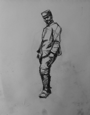 3754 armistice centenary drawing 39, compressed charcoal on paper, 27 x 33 cm 2018