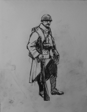 3755 armistice centenary drawing 4, compressed charcoal on paper, 27 x 33 cm 2018