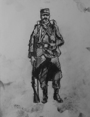 3756 armistice centenary drawing 62, compressed charcoal on paper, 27 x 33 cm 2018