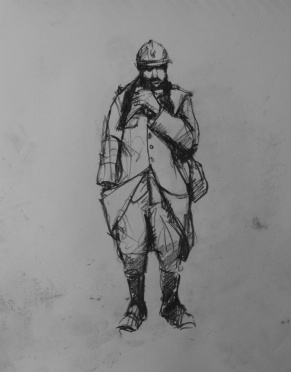 3757 armistice centenary drawing 23, compressed charcoal on paper, 27 x 33 cm 2018