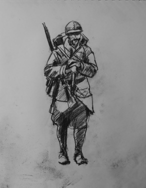 3758 armistice centenary drawing 29, compressed charcoal on paper, 27 x 33 cm 2018