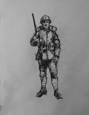 3761 armistice centenary drawing 58, compressed charcoal on paper, 27 x 33 cm 2018