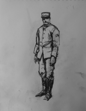 3763 armistice centenary drawing 51, compressed charcoal on paper, 27 x 33 cm 2018