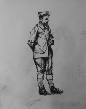 3765 armistice centenary drawing 47, compressed charcoal on paper, 27 x 33 cm 2018