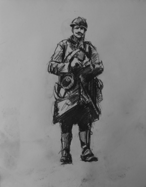 3767 armistice centenary drawing 44, compressed charcoal on paper, 27 x 33 cm 2018