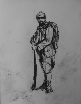 3771 armistice centenary drawing 37, compressed charcoal on paper, 27 x 33 cm 2018