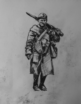 3773 armistice centenary drawing 53, compressed charcoal on paper, 27 x 33 cm 2018