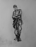 3778 armistice centenary drawing 22, compressed charcoal on paper, 27 x 33 cm 2018