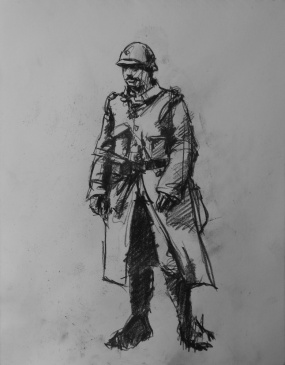 3779 armistice centenary drawing 55, compressed charcoal on paper, 27 x 33 cm 2018