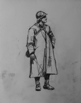 3780 armistice centenary drawing 40, compressed charcoal on paper, 27 x 33 cm 2018