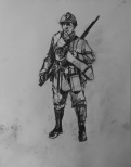 3783 armistice centenary drawing 52, compressed charcoal on paper, 27 x 33 cm 2018