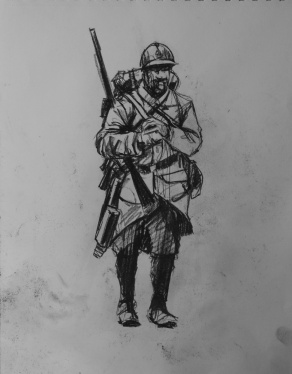 3784 armistice centenary drawing 50, compressed charcoal on paper, 27 x 33 cm 2018
