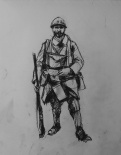 3786 armistice centenary drawing 7, compressed charcoal on paper, 27 x 33 cm 2018
