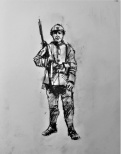 3815 armistice centenary drawing 110, compressed charcoal on paper, 27 x 33 cm 2018