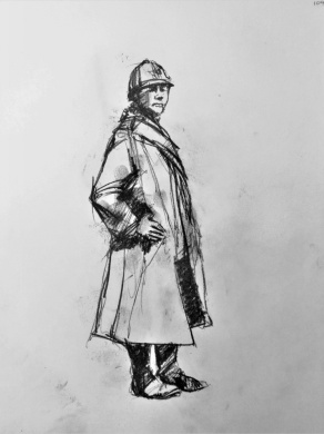 3816 armistice centenary drawing 109, compressed charcoal on paper, 27 x 33 cm 2018