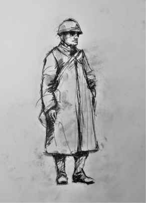 3818 armistice centenary drawing 107, compressed charcoal on paper, 27 x 33 cm 2018