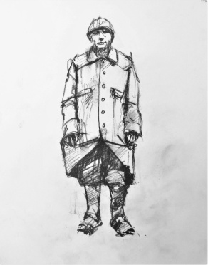 3819 armistice centenary drawing 106, compressed charcoal on paper, 27 x 33 cm 2018