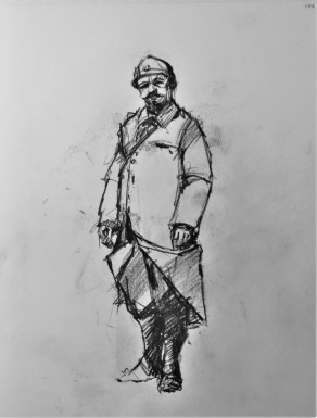 3821 armistice centenary drawing 104, compressed charcoal on paper, 27 x 33 cm 2018