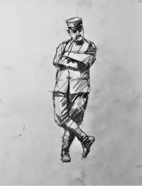 3824 armistice centenary drawing 101, compressed charcoal on paper, 27 x 33 cm 2018