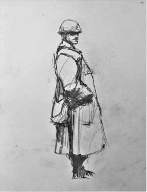 3825 armistice centenary drawing 100, compressed charcoal on paper, 27 x 33 cm 2018