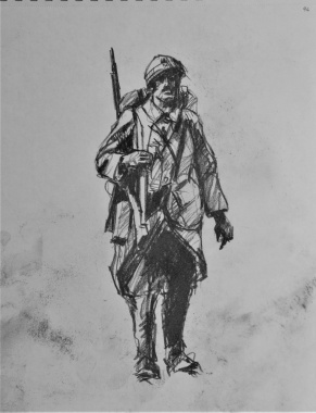 3830 armistice centenary drawing 96, compressed charcoal on paper, 27 x 33 cm 2018